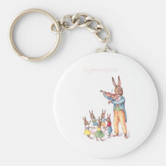 Rabbit Playing Violin Vintage Easter Card Basic Round Button Keychain
