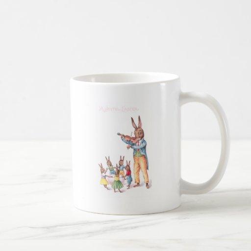 Rabbit Playing Violin Vintage Easter Card Coffee Mugs