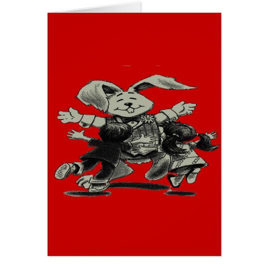 RABBIT PLAYING WITH CHILDREN CARD