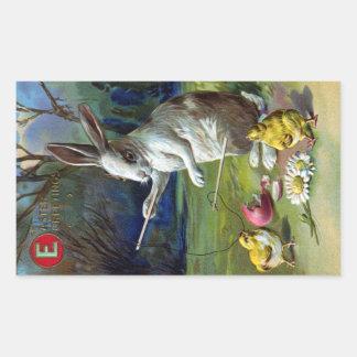 Rabbit Plays Diablo with Chicks Vintage Easter Rectangular Sticker