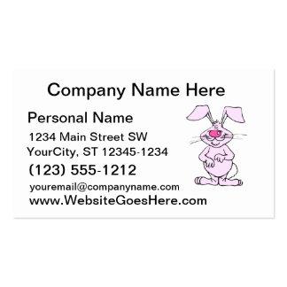 rabbit.png tonto feliz rosado grande tarjeta de negocio