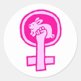 Rabbit Power! (pink) Official Susan Ash-Lee Classic Round Sticker