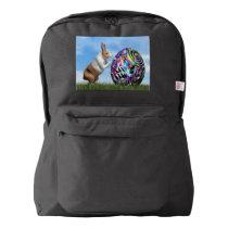 Rabbit pushing easter egg - 3D render American Apparel™ Backpack