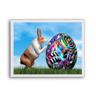 Rabbit pushing easter egg - 3D render Envelope