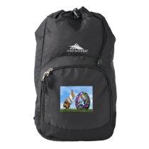 Rabbit pushing easter egg - 3D render High Sierra Backpack