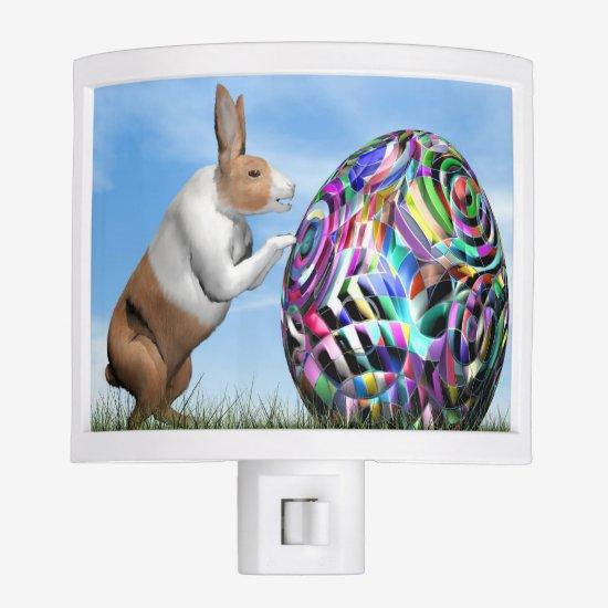 Rabbit pushing easter egg - 3D render Night Light
