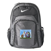 Rabbit pushing easter egg - 3D render Nike Backpack