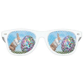 Rabbit pushing easter egg - 3D render Retro Sunglasses