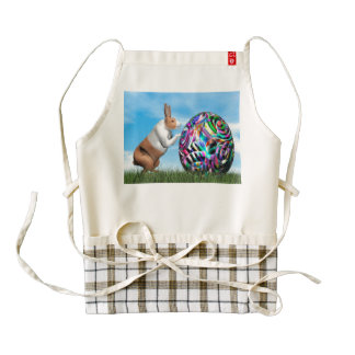 Rabbit pushing easter egg - 3D render Zazzle HEART Apron