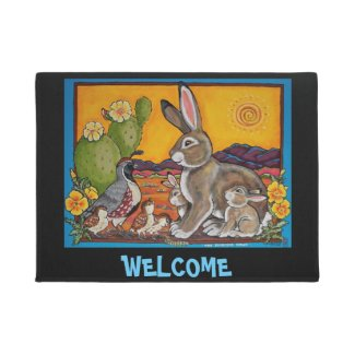 Rabbit Quail Welcome Door Mat Southwestern Cactus