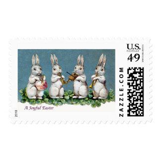 Rabbit Quartet Vintage Easter Stamp