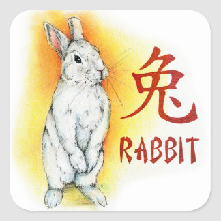 RABBIT RABBIT SQUARE STICKER
