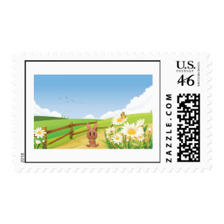 Rabbit Rabbits Summer Nature Happy Flower Cute Postage Stamp