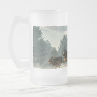 Rabbit Race Frosted Glass Beer Mug