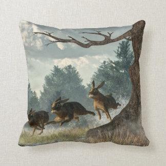 Rabbit Race Throw Pillows