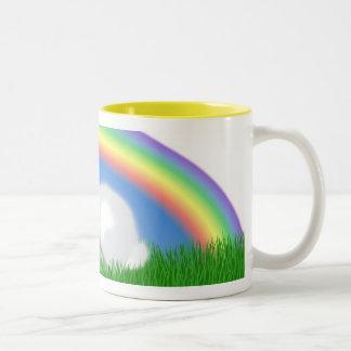 Rabbit & Rainbow Two-Tone Coffee Mug