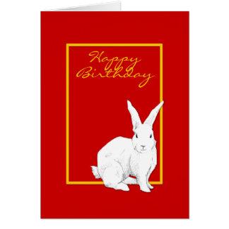 Rabbit red Birthday Card