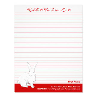 Rabbit red lined To Do List Letterhead