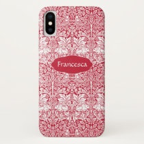 Rabbit Red Pattern Morris Personalized Monogram iPhone X Case