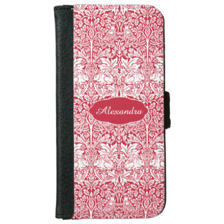 Rabbit Red Pattern Morris Personalized Monogram Wallet Phone Case For iPhone 6/6s
