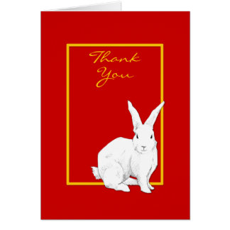 Rabbit red Thank You Note Card
