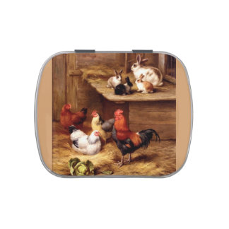 Rabbit rooster farm pet animals painting jelly belly candy tins