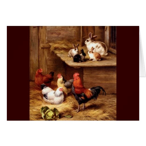 Rabbit rooster hens farm animals bunnies greeting card
