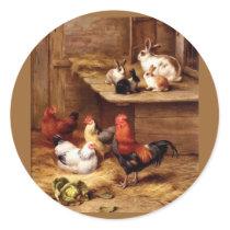 Rabbit rooster hens farm animals bunnies classic round sticker