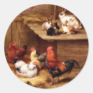 Rabbit rooster hens farm animals bunnies stickers