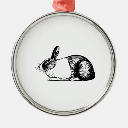 Rabbit Round Metal Christmas Ornament