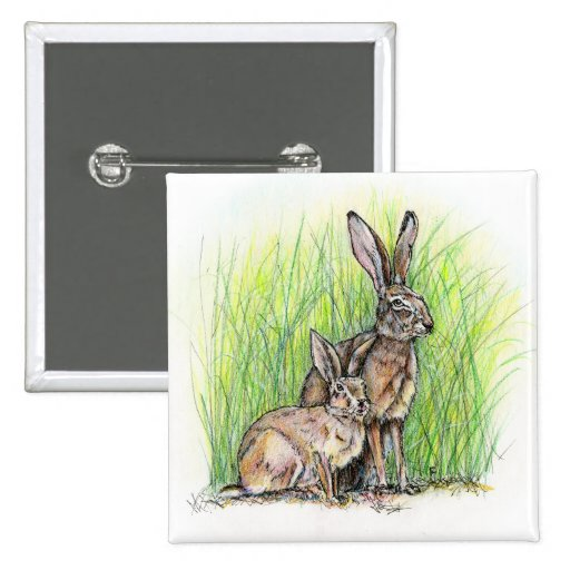 Rabbit Royalty 2 Inch Square Button