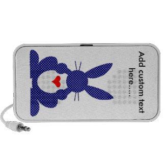 Rabbit Silhouette, Blue Background White Stars. Mini Speaker