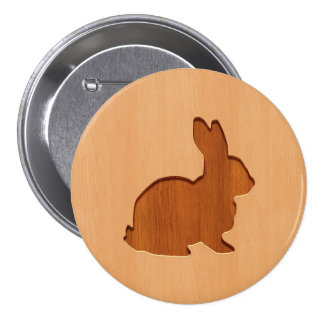 Rabbit silhouette engraved on wood design pinback button