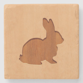 Rabbit silhouette engraved on wood design stone coaster
