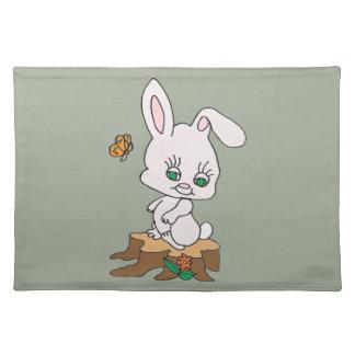 Rabbit Sitting on Stump Cloth Placemat