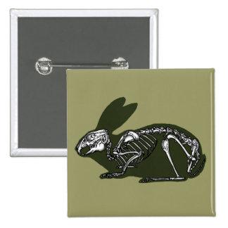 rabbit skeleton pinback button