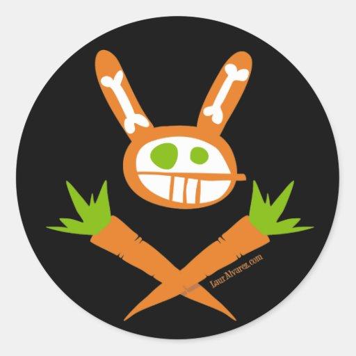 Rabbit Skull Round Stickers