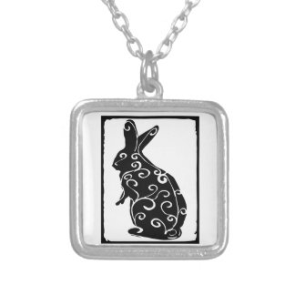 rabbit square pendant necklace