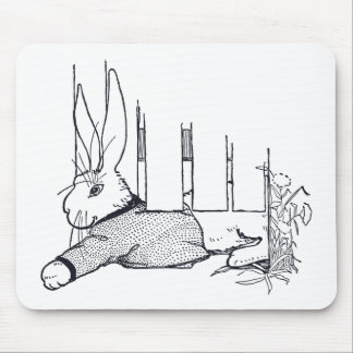 Rabbit Squeezing Under Gate Mousepad