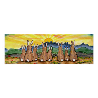 Rabbit Sunrise over Mountains Sunny Yellow Poster
