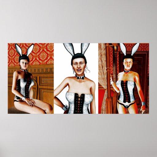 Rabbit Triptych Poster