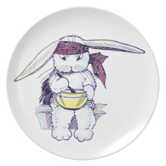 Rabbit Wearing Bandanna and Eating Cereal Melamine Plate
