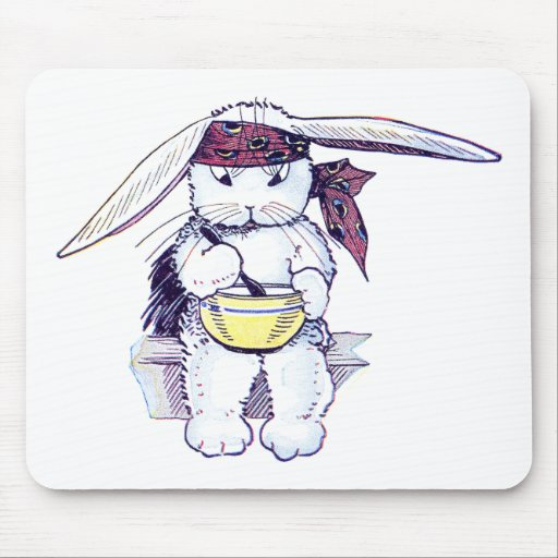 Rabbit Wearing Bandanna and Eating Cereal Mouse Pad