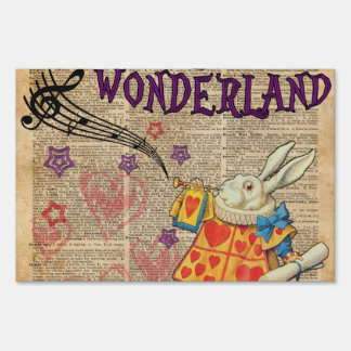 Rabbit Welcome To .. Alice In Wonderland Lawn Sign