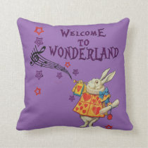 Rabbit Welcome To .. Alice In Wonderland Throw Pillow