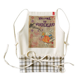 Rabbit Welcome To .. Alice In Wonderland Zazzle HEART Apron