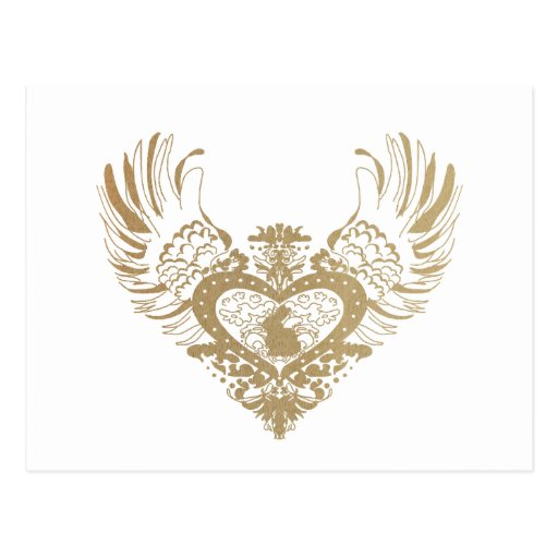Rabbit Winged Heart Post Card
