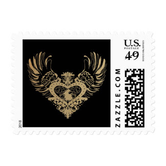 Rabbit Winged Heart Postage Stamps