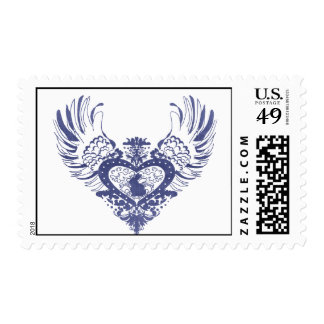Rabbit Winged Heart Postage Stamp
