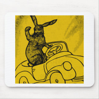 rabbit with a car mouse pad